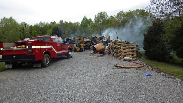 A picture of the Silver Trail Distillery fire from the state fire marshal's investigation.
