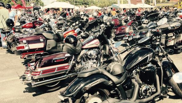 In this file photo, Scores of motorcycles are parked and on display at Arthur W. Perdue Stadium near Salisbury.