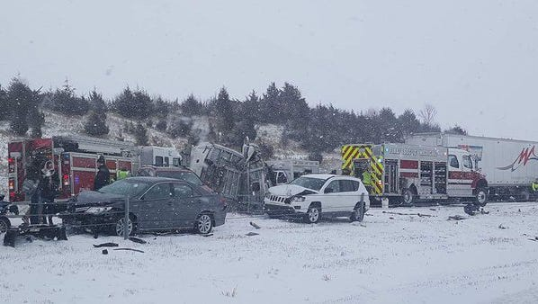 A photo taken near mile marker 256 near West Branch on Interstate 80 shows a multi-vehicle accident.