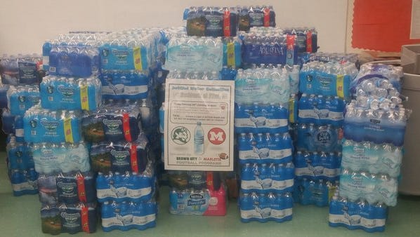 Marlette and Brown City came together to donate more than 150 cases of water to Flint.
