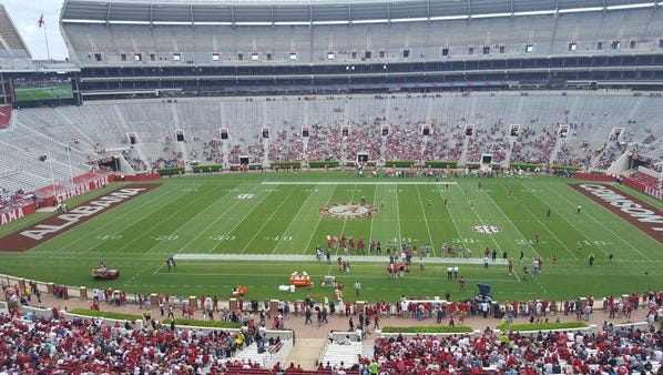 Alabama plays its A-Day game today at Bryant-Denny Stadium beginning at 2 p.m.