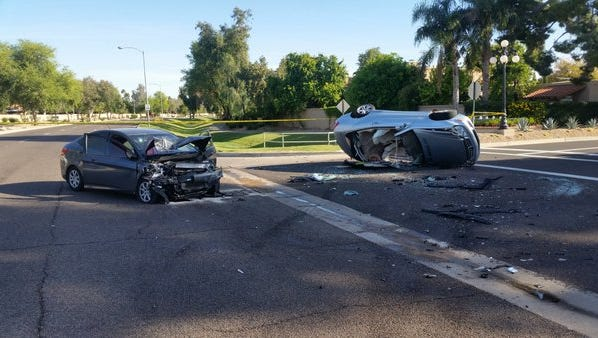 A two-car collision near Via Linda and Hayden Road sent two women to the hospital with life-threatening injuries, officials said.