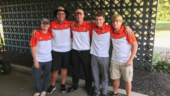 National Trail golfers (from left), Bryten Jones, Isaac Plankenhorn, Logan Petitt, Dawson Ward, Chris Brubaker will play in Thursday's district tournament.