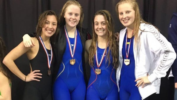 Liberty Union's 200-yard medley relay team, consisting from left to right, Devan Lewellan, Taci Miller, Kylee Arnold, Logan Lawhorn will compete in the state swim meet in Canton on Thursday and Friday.