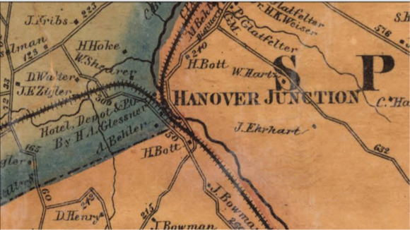 Detail from an 1860 map of York County showing the track layout around Hanover Junction. The westward track ran to Hanover and on to Gettysburg. The northern track led to York and Harrisburg (LOC).