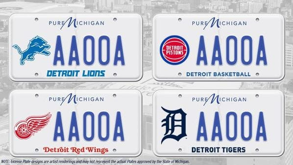 The Detroit Tigers tweeted this photo of possible license plate design displaying pride in Detroit's pro sports teams (NOTE: License plate designs are artist renderings and may not represent the actual plates approved by the State of Michigan)