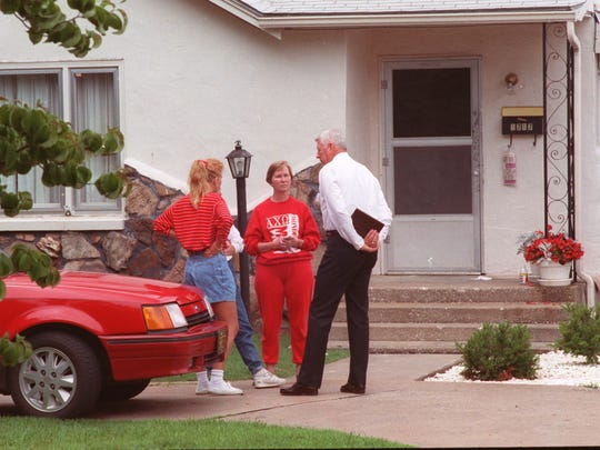 File photo of the second investigation at the Levitt house on east Delmar. File Photo In the photo are Janis McCall, center, Terry Knowles, then police chief, and Meredith McCall.