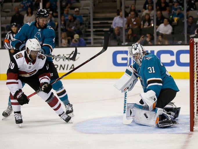 San Jose Sharks goalie Martin Jones (31) blocks a shot
