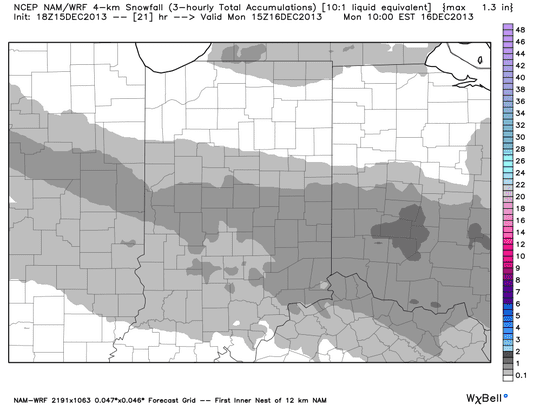 Up to around a half-inch of snow (marked in the darker gray on the map) could accumulate overnight right across the middle of central Indiana.