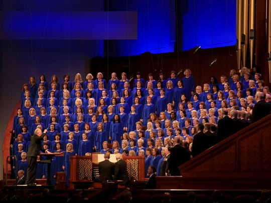 The Mormon Tabernacle Choir performs during the Sunday morning session of the 184th Semiannual General Conference of The Church of Jesus Christ of Latter-day Saints in Salt Lake City.