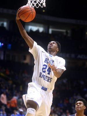 MTSU's Quavius Copeland (24) led the way in the loss at Marshall on Thursday.