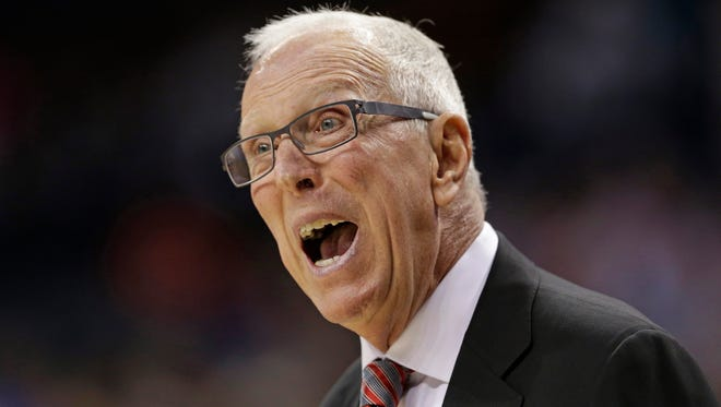 San Diego State basketball coach Steve Fisher argues a call during the first half of an NCAA tournament game against Duke in Charlotte, N.C., on Sunday, March 22, 2015.