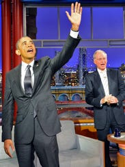 President Barack Obama gabs with Letterman on March