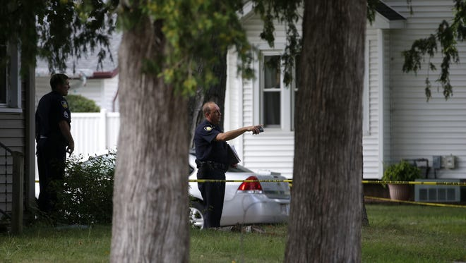 The scene of a police shooting Friday in New London.
