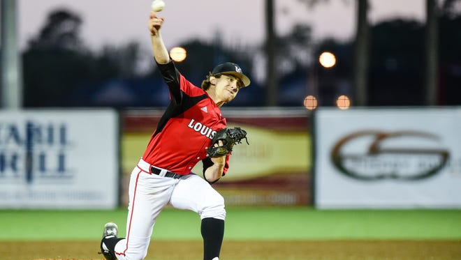 UL starter Wyatt Marks on the mound as the Cajuns beat Georgia State, 4-2, at The Tigue.
