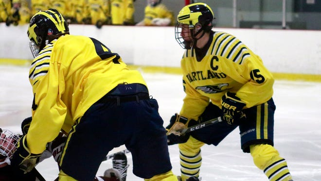 Hartland senior Carter Eiden (15) is a stay-at-home defenseman who was named captain in his first season with the Eagles.