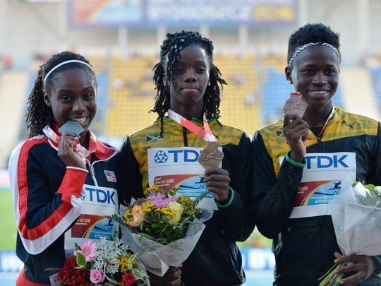 BYDGOSZCZ, POLAND - JULY 21: Lynna Irby from USA, Tiffany James from Jamaica and Junelle Bromfield from Jamaica on the podium after women's 400 metres during the IAAF World U20 Championships at the Zawisza Stadium on July 21, 2016 in Bydgoszcz, Poland.