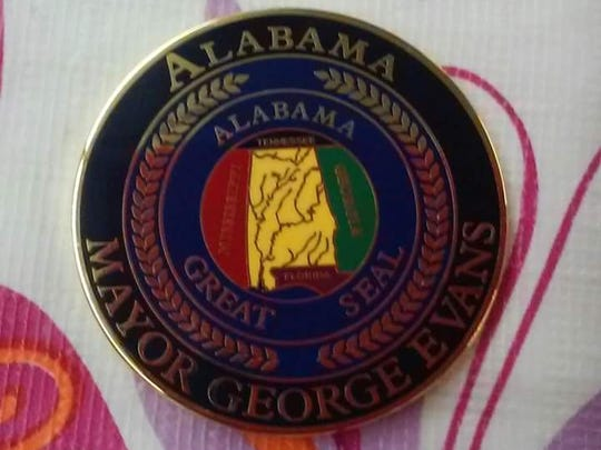 An Alabama pin from Mayor George Evans of Selma