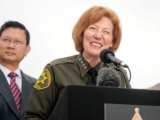 Orange County Sheriff Sandra Hutchens is all smiles