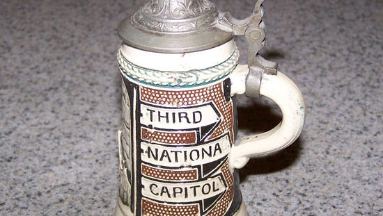 """This mug isn't dated, but it sounds like it has some age on it. The """"Third National Capitol"""" is puzzling. Did whoever commissioned it perhaps skip Lancaster because Continental Congress only met there for a day?"""