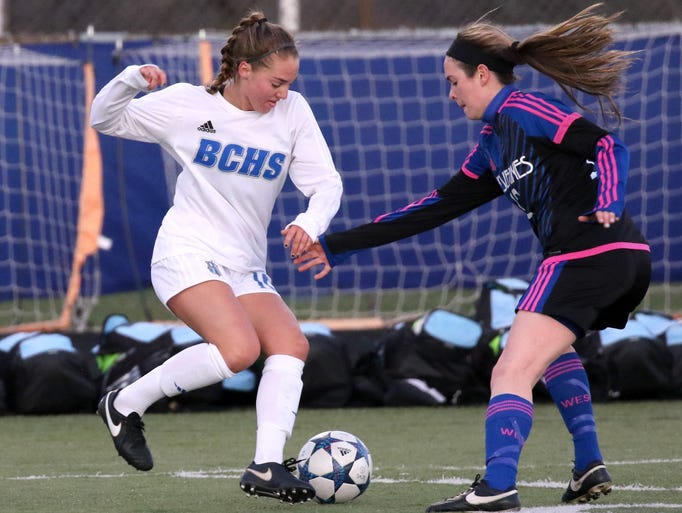 Brookfield Central's Sarah Knopp controls the ball