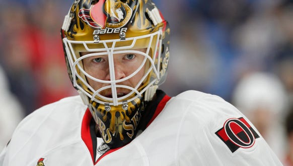Ottawa Senators goalie Mike Condon looks on prior to