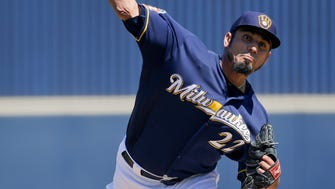 Milwaukee Brewers starting pitcher Matt Garza throws against the Arizona Diamondbacks during the first inning of a spring training game Saturday, March 26, 2016, in Phoenix.