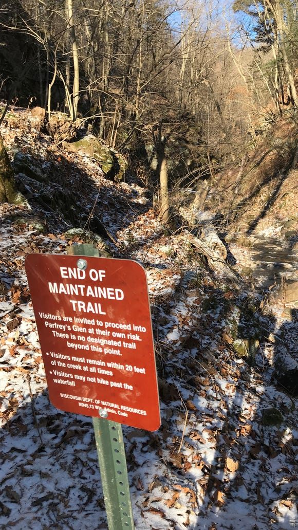 The maintained trail ends as you enter Parfrey's Glen. Then you have to scramble along the creek and over rocks.