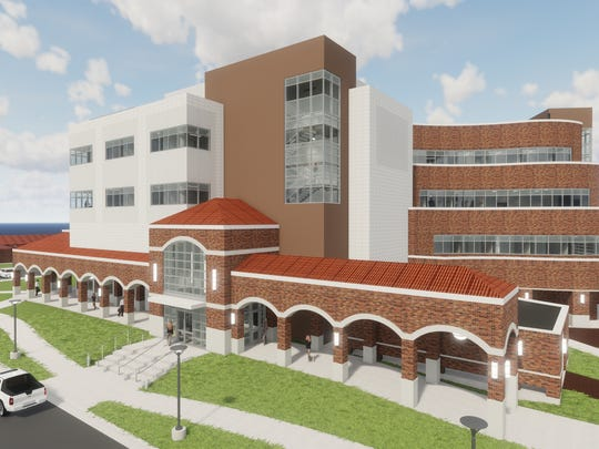 This artist rendering of the soon-to-be-constructed  Robert D. & Carol Gunn College of Health Sciences & Human Services Building shows the proposed west lobby interest.