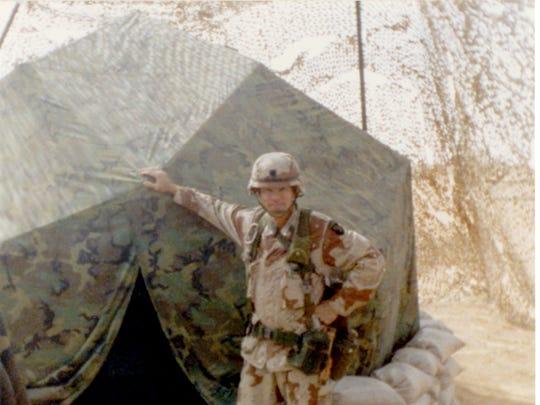 Tom Skrodzki stationed in Saudi Arabia during the Gulf