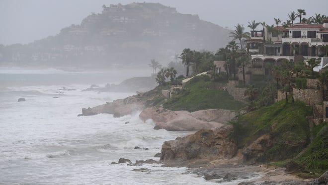 Waves hit the coast of Los Cabos, Mexico,  Sunday.