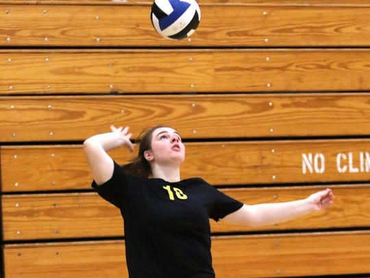 Mukwonago server Makenzie Vertz goes up for a serve against Kenosha Bradford on Sept. 3, 2016, at Mukwonago High School. Vertz moved to the primary setter role when Mukwonago switched to a 5-1 offense for the Mukwonago Invite.