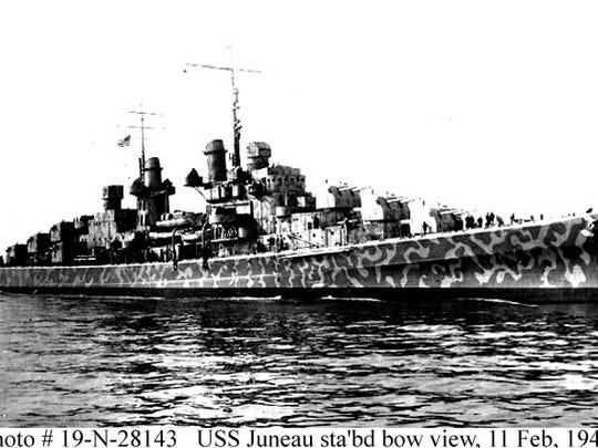 U.S.S. Juneau in New York Harbor on Feb. 11, 1942.