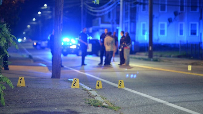 Brockton police investigate a shooting in the 200 block of Court Street, Thursday, July 23, 2020. Two male victims suffered non-life-threatening injuries in the shooting.