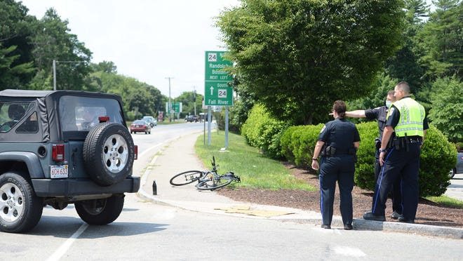 A Jeep Sport Wrangler versus a cyclist in front of Home Depot, 1453 Pleasant Street in Bridgewater, one  person was transported to the hospital in an ambulance on Wednesday, July  8, 2020.