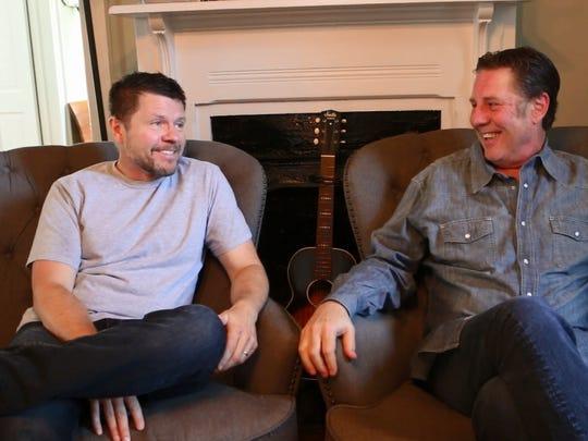 Lee Thomas Miller, left, tells Bart Herbison about