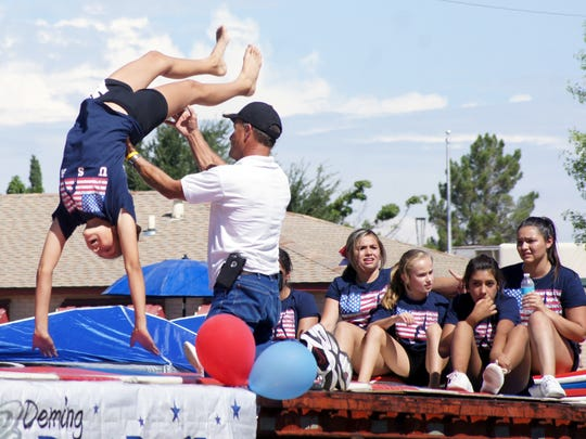 Deming Dust Devils Gymnastics makes an annual appearance in the PNM Tournament of Ducks Parade.