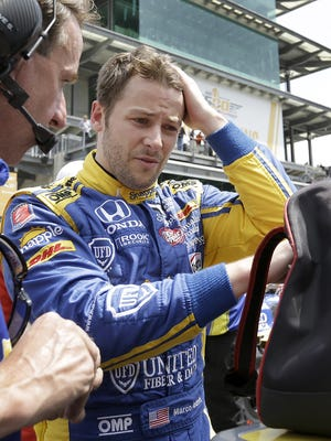 IndyCar driver Marco Andretti (27) following his qualifying run for the 100th running of the Indianapolis 500 Saturday, May 21, 2016, morning at the Indianapolis Motor Speedway.