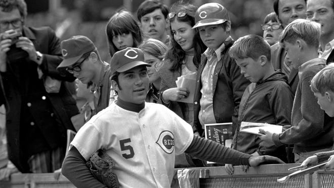 Johnny Bench, Cincinnati Reds' catcher, was named the National League's Most Valuable Player November 18, 1970.  Bench is shown on the first day of the World Series in October, 1970.