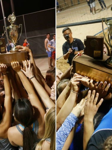 Perry (Div. I) and Fountain Hills (Div. II) celebrate their 2018 beach volleyball state titles.