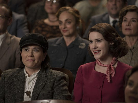 "Alex Borstein, left, and Rachel Brosnahan in ""The Marvelous Mrs. Maisel."" Amazon Prime is releasing the show's third season Friday."