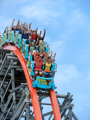 A roller coaster at the Kentucky Kingdom amusement park.