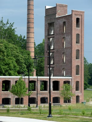 The Whitewater Gorge project included stabilization and night illumination for the smoke stack in the area of the Starr-Gennett Building.