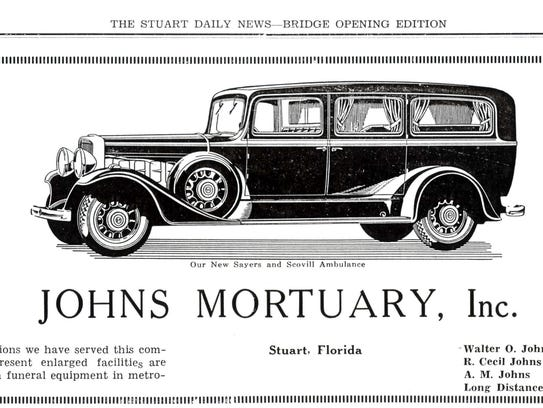 Advertisement for Johns Ambulance Service in 1934.