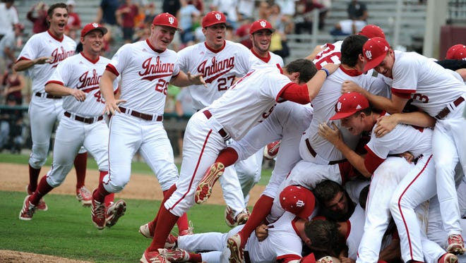 IU's baseball team celebrates after winning a super regional of the 2013 NCAA tournament against Florida State.