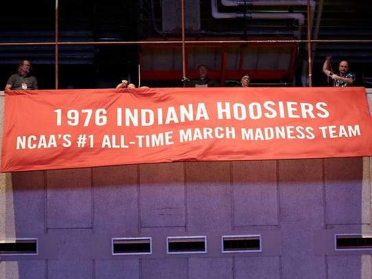 A banner to honor the 1976 IU Hoosiers was unveiled