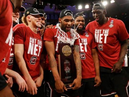 South Carolina players celebrate with the championship