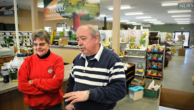 Tom and Ellen Woods talk about the transition to the new location of Woods Farmer Seed & Nursery on Tuesday in Waite Park. The store's grand opening is planned for Thursday.