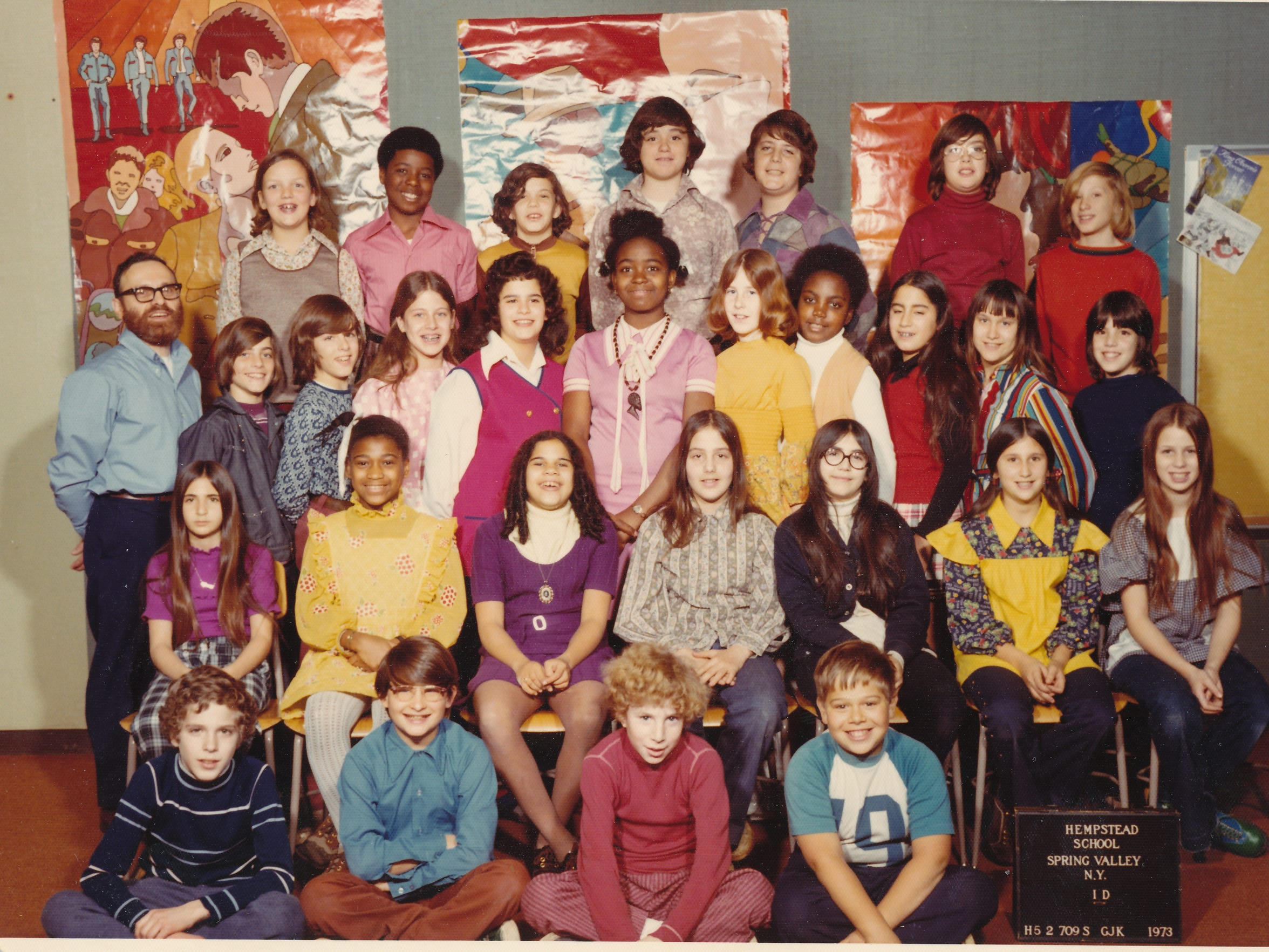Right: Steve White's sixth-grade class in East Ramapo