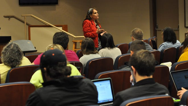 Linda Karges-Bone, professor of education at Charleston Southern University and author, speaks to students in the Louisiana College TEACH program on Wednesday.